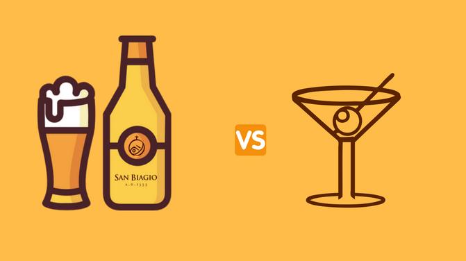 birra vs cocktail bottiglia e bicchiere
