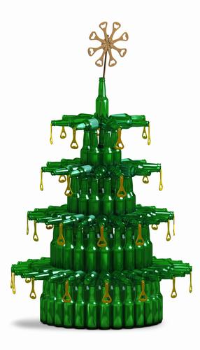 albero di natale con birra bottiglie